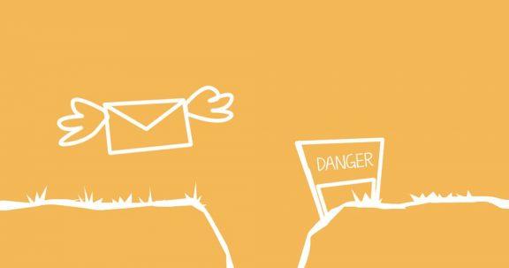 cartoon envelope flying towards danger