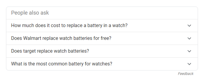 People also ask when searching for watch battery
