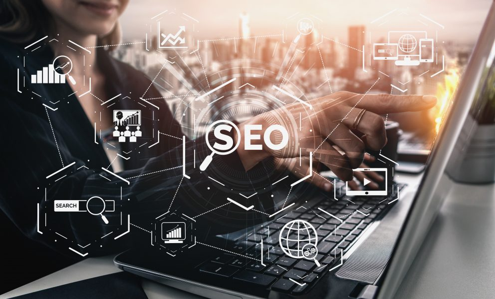 Search Engine Optimization for Online Marketing Concept. Modern graphic interface showing symbol of keyword research website promotion by optimize customer searching and analyze market strategy.